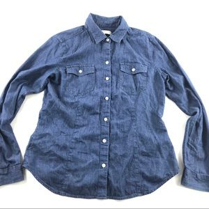 Loft Ann Taylor Button Front Blue Cotton Shirt